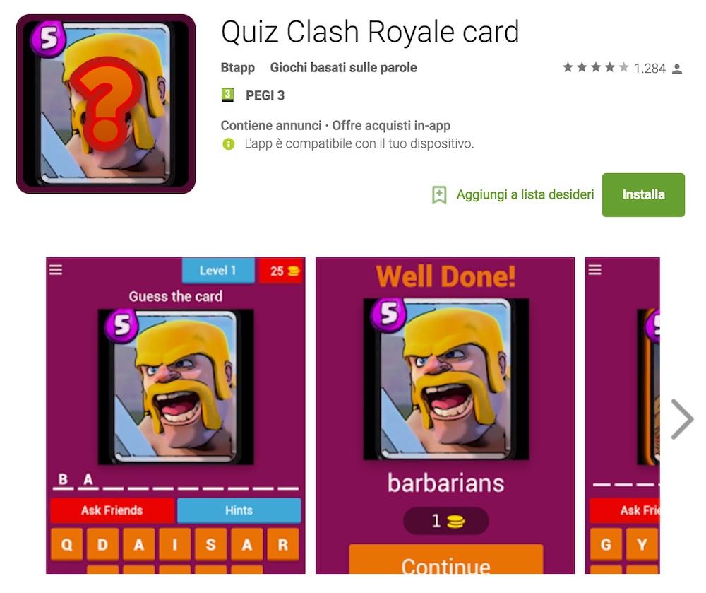 Soluzioni Quiz Clash Royale card