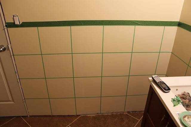 Mark off squares with paint tape.