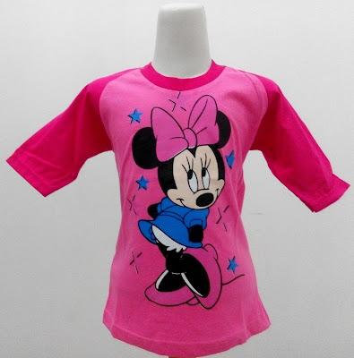 Kaos Raglan Anak Karakter Minnie Mouse Pink