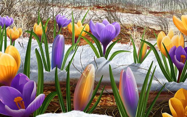 3D bureaublad achtergrond met sneeuwklokjes in de lente