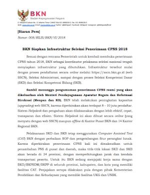 BKN Siapkan Infrastruktur Seleksi Penerimaan CPNS 2018