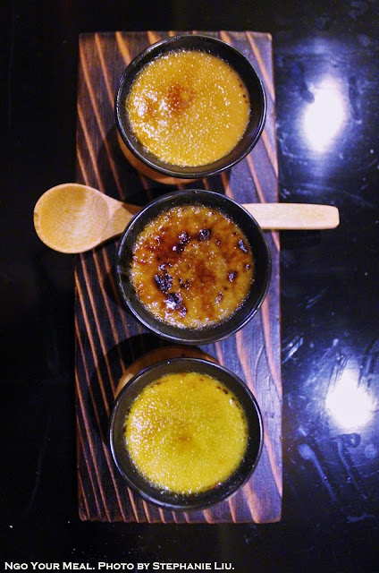 Top to bottom: Roasted Green Tea, Black Sesame, Green Tea Creme Brulee at Torishin