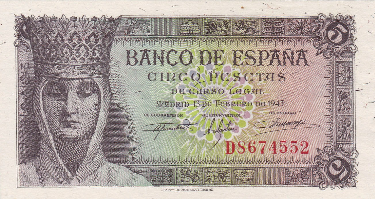 Spain Banknotes 5 Pesetas bank note 1943 Queen Isabella I of Spain