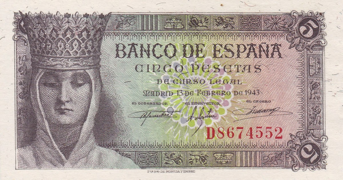 Spain 5 Pesetas Banknote 1943 Queen Isabella I Of Spain World Banknotes Amp Coins Pictures Old