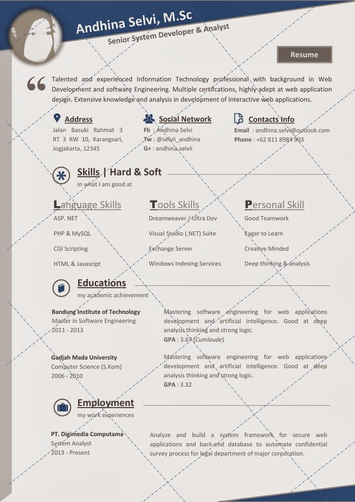 desain cv kreatif  andhina   resume