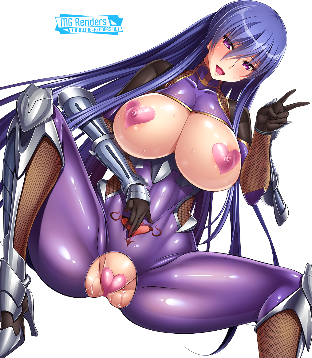 Tags: Anime, Render,  Akiyama Rinko,  Bodysuit,  Huge Breasts,  No panties,  Pasties,  Spread legs,  Taimanin Asagi,  Taimanin Yukikaze, PNG, Image, Picture