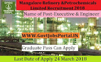 Mangalore Refinery and Petrochemicals Limited Recruitment 2018 – 17 Laboratory Supervisor, Executive & Engineer