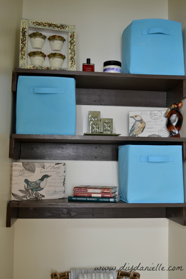 Shelving and Decor for Organizing a Small Toilet Room - DIY Danielle