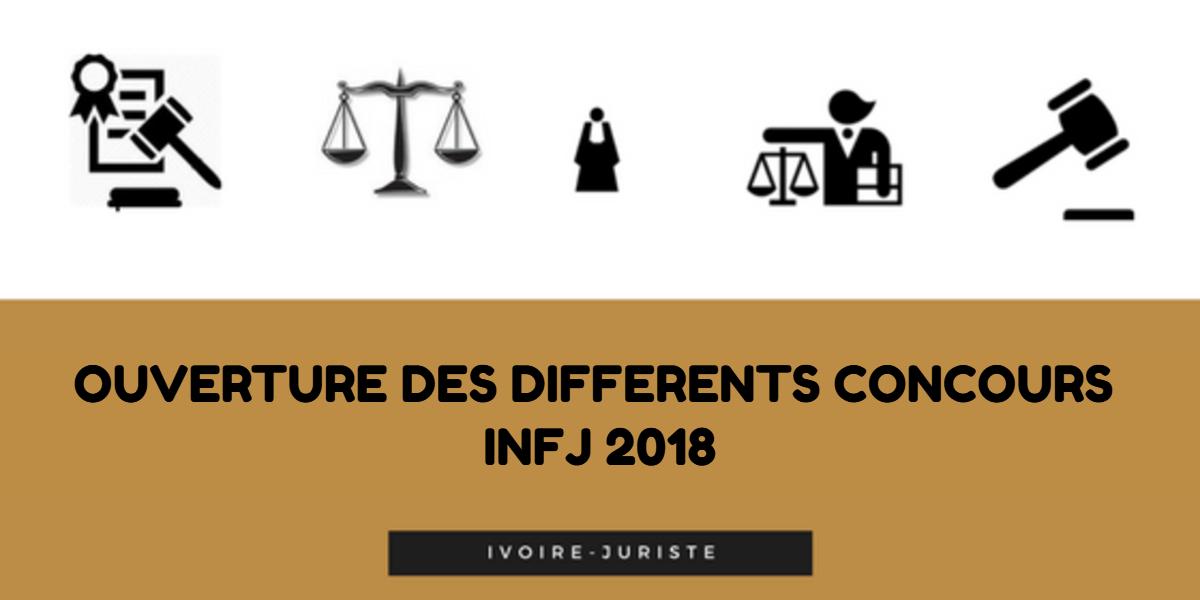 Communiqués : ouverture des différents concours d'admission à l'institut national de formation judiciaire (INFJ) 2018