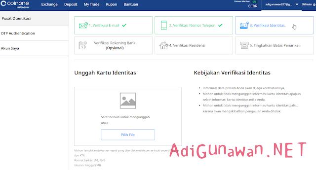 Verifikasi Akun Exchange Coinone Indonesia