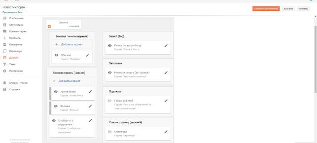 Blogger панель управления Дизайн