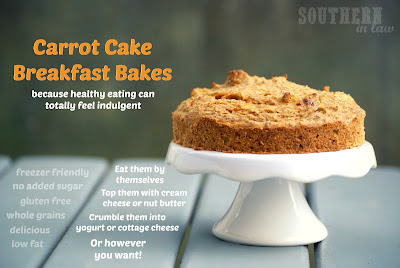 Carrot Cake Breakfast Bakes - Gluten Free, Low Fat, Clean Eating Friendly, Freezer Friendly, Healthy
