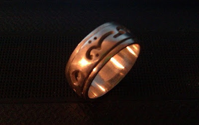 silver ring, arabic writing