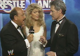 WWF / WWE - Wrestlemania 7: Mean Gene Okerlund speaks to two of the celebrities at Wrestlemania VII