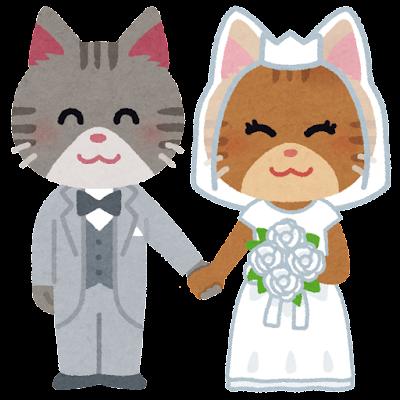 新郎新婦のイラスト(猫)