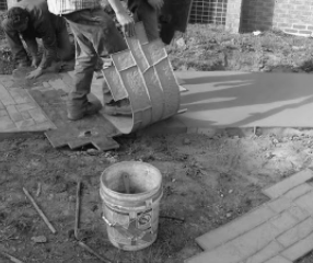Fig.1. Stamped Concrete Preparation on a Concrete Driveway