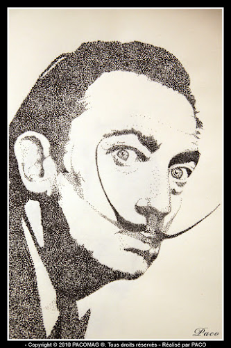 dessins de Salvador Dali en pointillisme par, par Paco illustrateur Graphiste