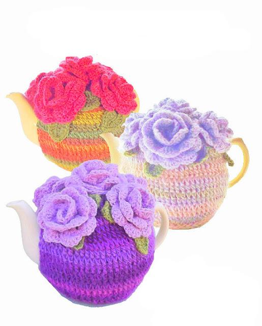 Rose flower tea cosy Crochet Pattern