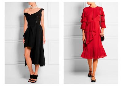 Черное и красное платье сложного покроя