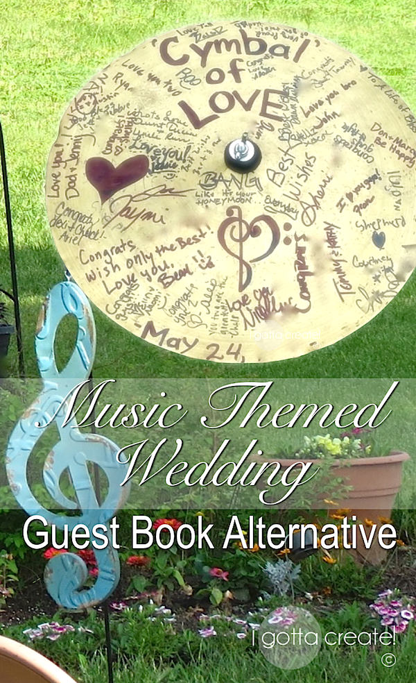 Cymbal of Love guest book idea for a music-themed wedding or retirement. | More at I Gotta Create!