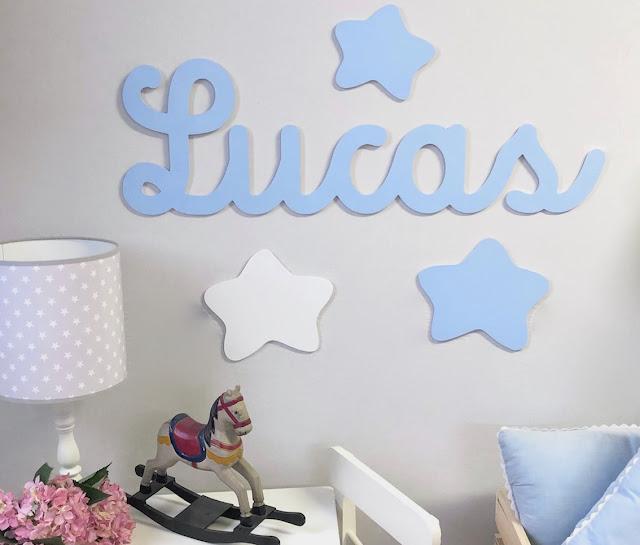 nombre infantil de niño LUCAS para pegar en la pared , decoración infantil