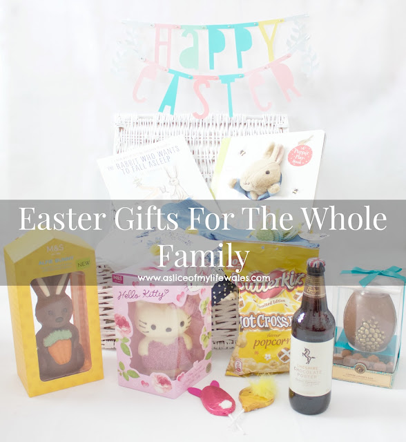 blog post easter gift guide easter gifts for the whole family - chocolate beer, hello kitty easter egg easter basket bunny egg with carrot hot cross bun popcorn