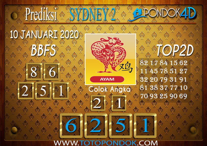 Prediksi Togel SYDNEY 2 PONDOK4D 10 JANUARI 2020