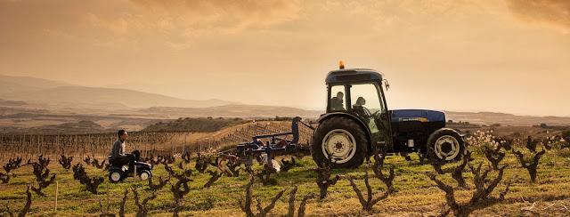 agricoltura trattore viti vigna spagna