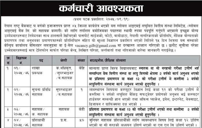 Jobs Open In Globel IME Laghubitta Bittiya Sanstha Limited