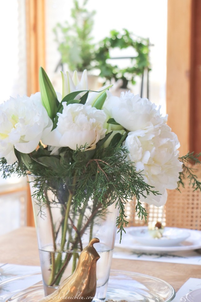 white Christmas peonies for a French table setting