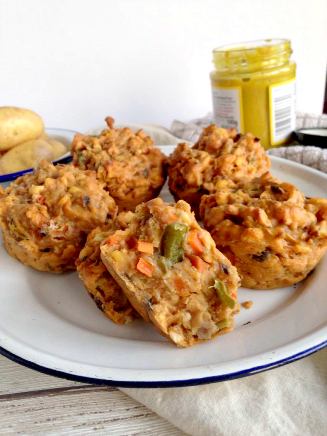 Vegetable Lentil Savory Muffin - The perfect Christmas main for fellow vegans or vegetarians, make in advance and freeze to save time and stress on Christmas day
