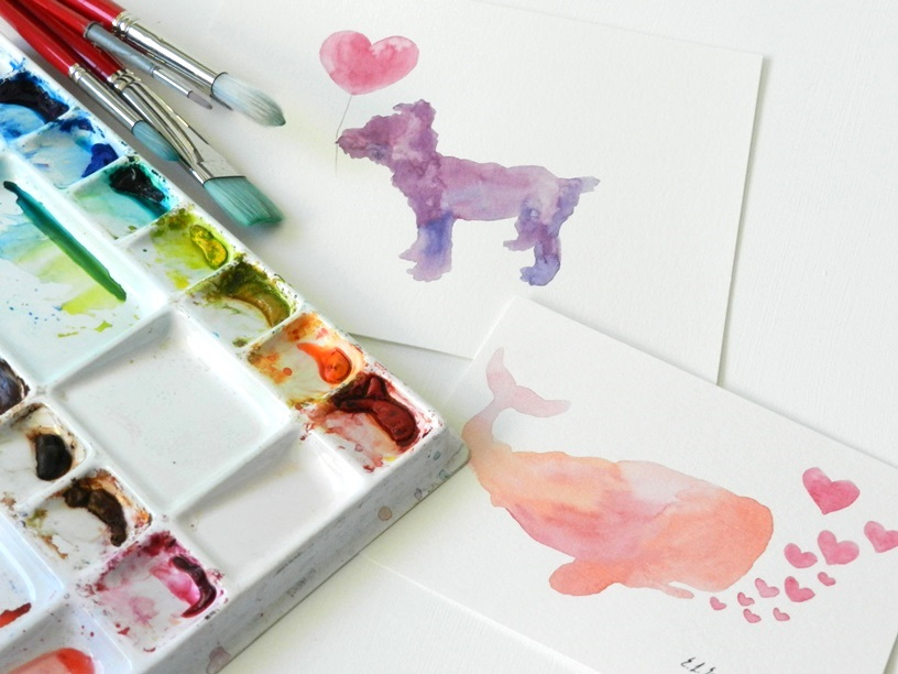 Original Watercolor Purple Dog and Pink Whale with Hearts Paintings by Elise Engh: Grow Creative