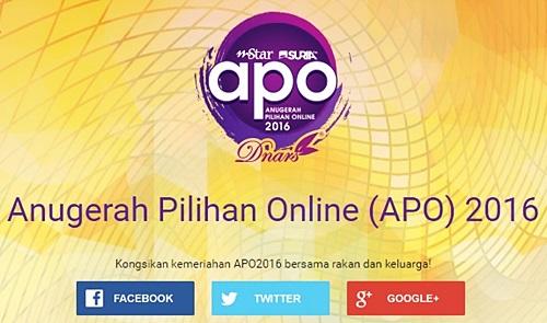 cara undi calon dan pemenang anugerah pilihan online apo 2016, tarikh undi vote anugerah pilihan online apo 2016