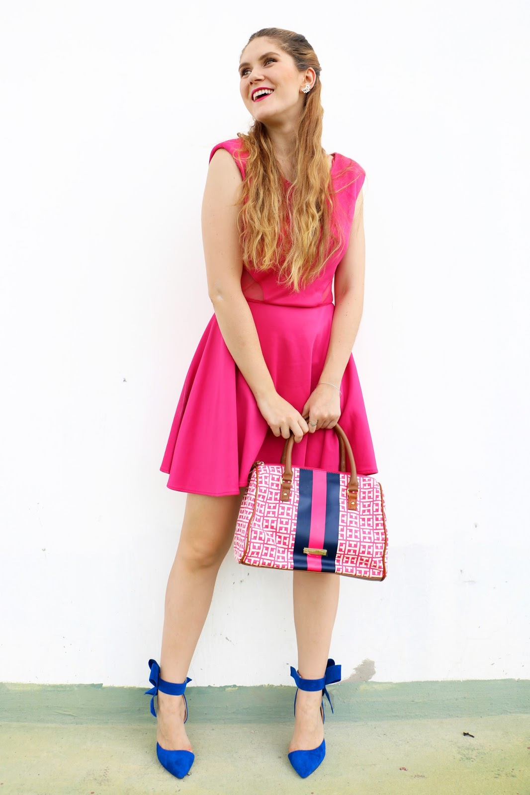 Combine a bright pink dress with an equally bright pair of shoes to make a colorful Summer outfit!