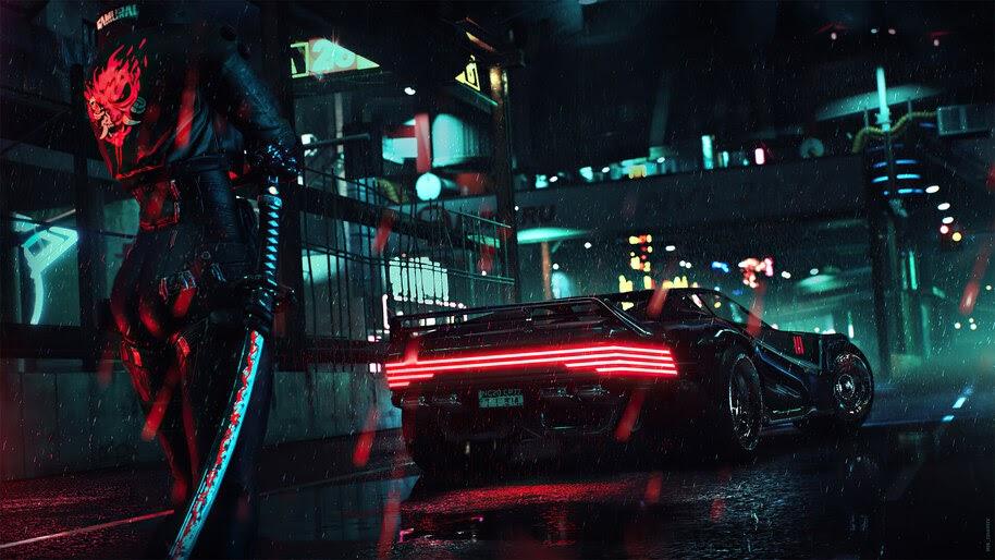 Cyberpunk 2077, Car, Samurai, Logo, Katana, 4K, #3.2229