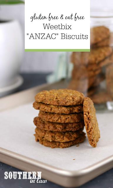 Gluten Free Weetbix ANZAC Biscuits Recipe - oat free, gluten free, egg free, ANZAC cookies, australian recipes