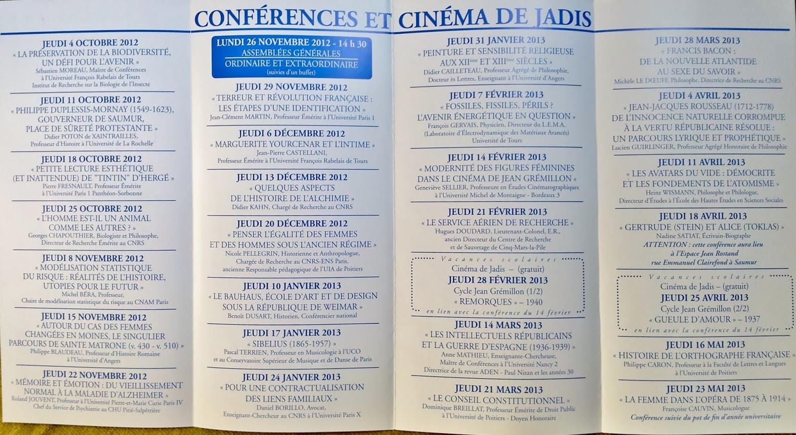 SaumurTempsLibre: 16 années de conférences