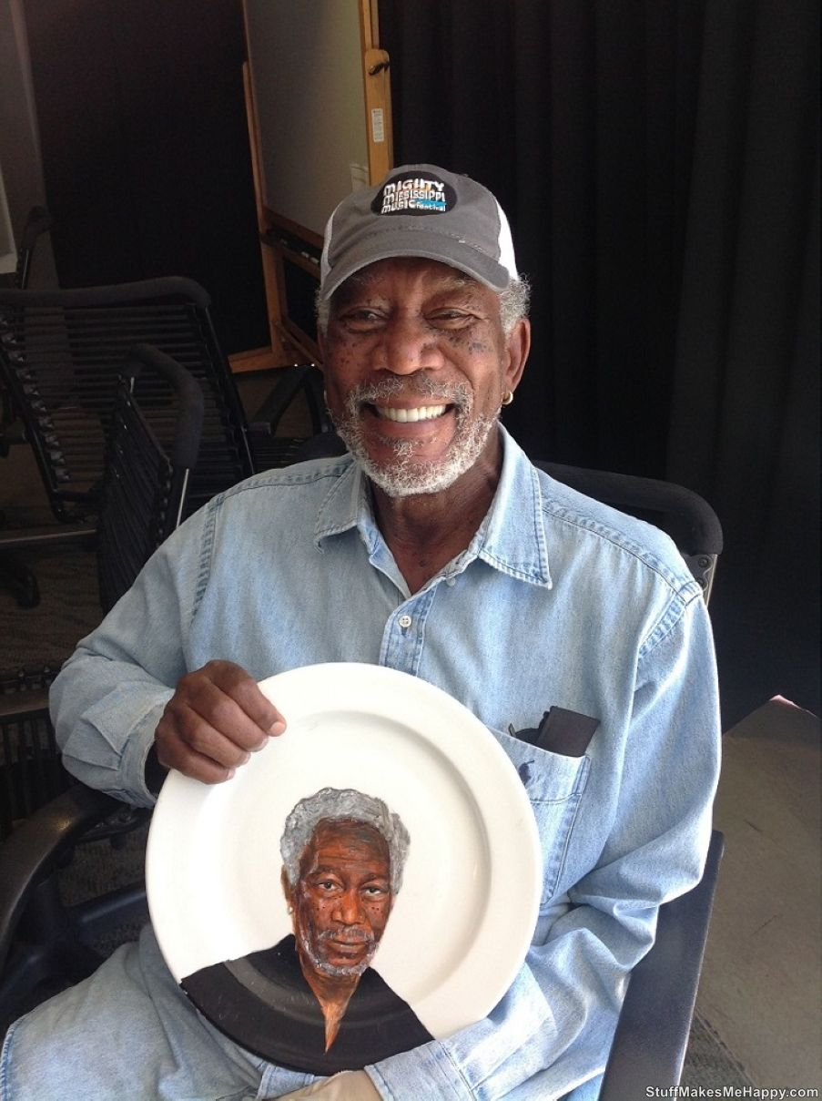 Morgan Freeman with his portrait