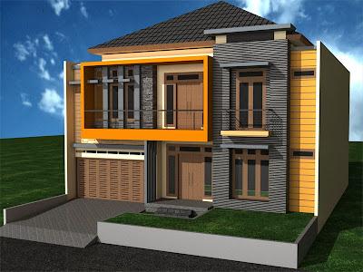 contoh desain rumah mewah 2 lantai bagian depan ~ gambar