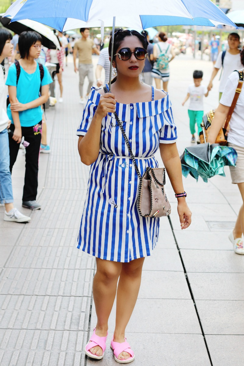 Off Shoulder Striped Top - OOTD - Buy Online dress at koovs, amazon, asos travel outfit
