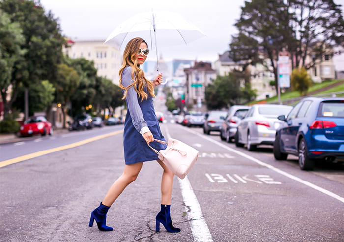 BB Dakota Jack by BB Dakota Marceline Faux suede dress, zara shirt, baublebar choker, gentle monster sunglasses, steve madden velvet ankle booties, faux suede dress, san francisco street style, san francisco fashion blog, rainy day outfit ideas, holiday outfit ideas