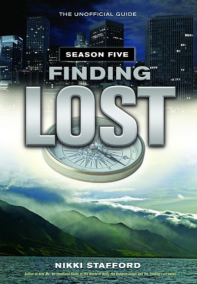 cover to Nikki Stafford's 'Finding 'Lost': The Unofficial Guide, Season Five' depicting the title and other copy in silver-white over a floating compass