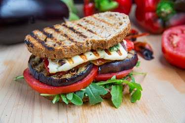Grilled Eggplant and Roasted Red Pepper Sandwich with Halloumi