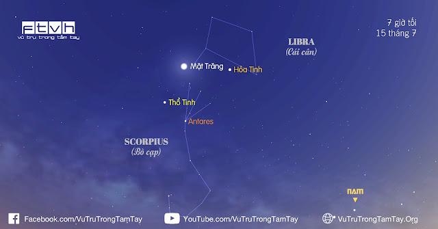 [Ftvh] #BầuTrờiĐêmNay 15/7/2016. Quan sát Mặt Trăng, Sao Thổ và sao Antares.