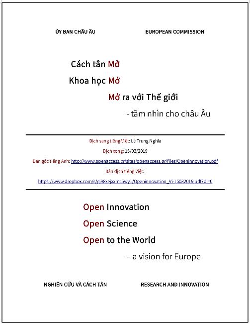Cách tân Mở, Khoa học Mở, Mở ra với Thế giới - Tầm nhìn cho châu Âu - bản dịch sang tiếng Việt