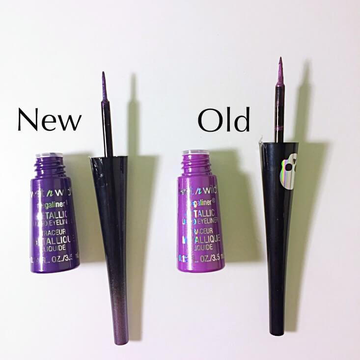wet n wild megaliner Metallic Liquid Eyeliner Purple Poison vs Black Butterfly