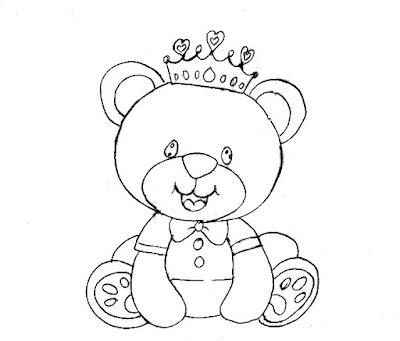 desenho de ursinho principe para pintar em fraldas