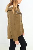 Geaca Zara Dama Soft Faux Fur Inside Kaki