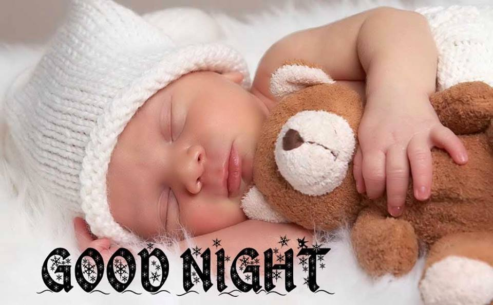 Cute Boy Sleeping with Teddy Bear and Wishing Good Night