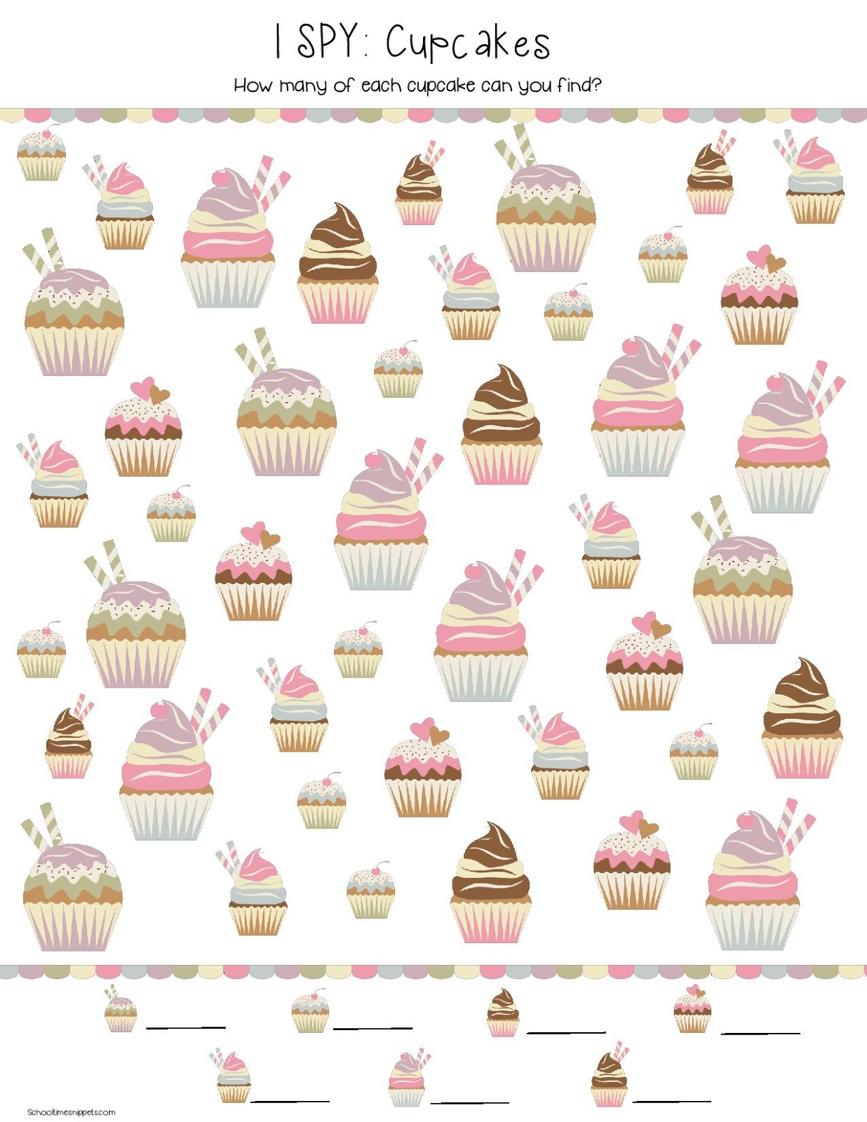 cupcake printable game for kids